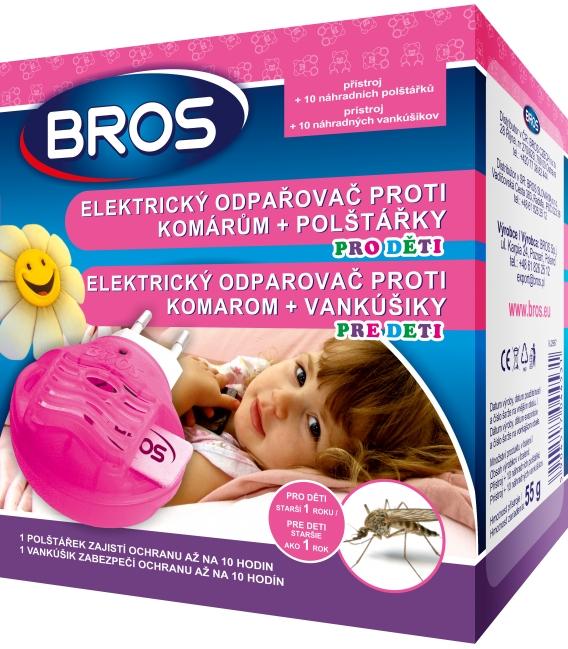 BROS- elektrický odparovač proti komárom pre deti + vankúšiky