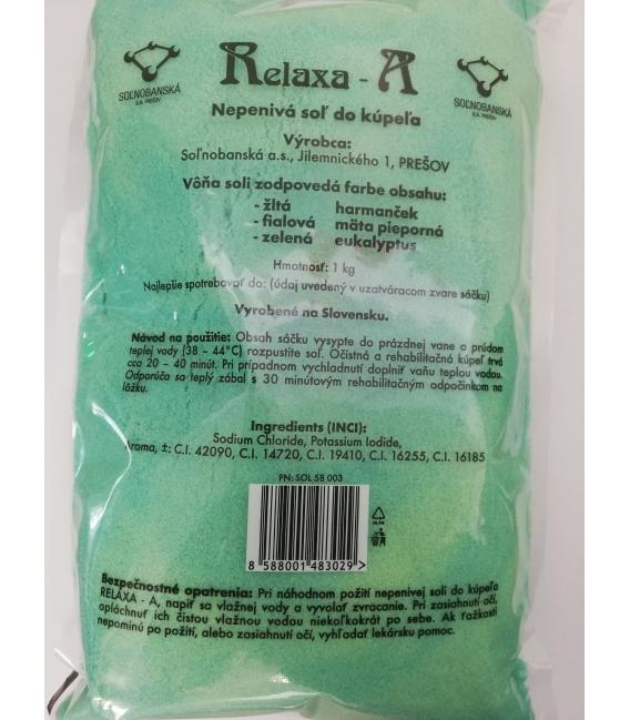 RELAXA nepenivá soľ do kúpeľa eukalyptus 1kg